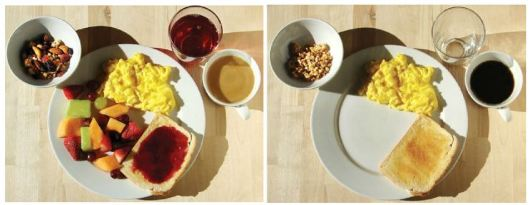 Breakfast with (left) and without (right) bee pollination.  from scientific american