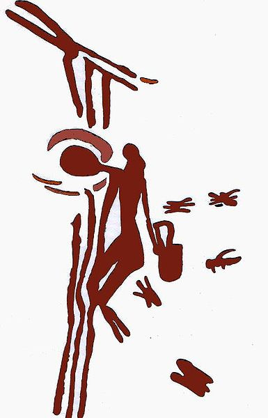 Cave painting that shows a honey seeker found in la Cueva de Arana, courtesy of Wikipedia.org