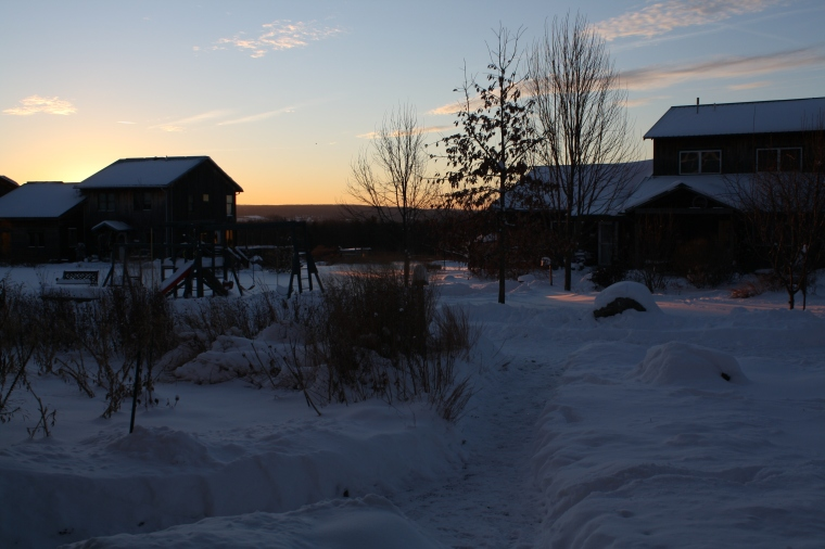 Winter sunrise in the village