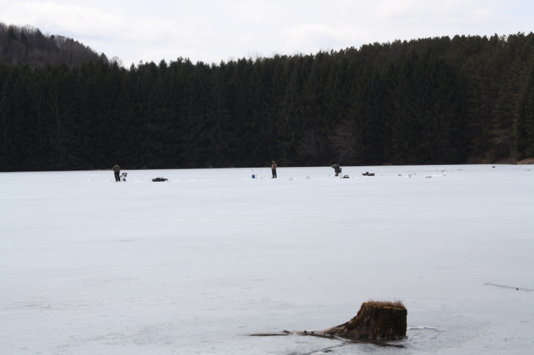 I was quite surprised to see the ice fishers out, especially considering the melty margins of the lake!